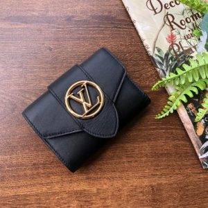 LV M69175 Louis Vuitton LV Pont 9 Compact Wallet Cowhide Leather Black - luxibagsmall