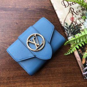 LV M69175 Louis Vuitton LV Pont 9 Compact Wallet Epi Leather Blue - luxibagsmall