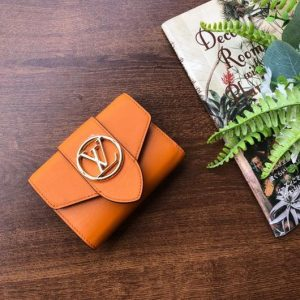 LV M69175 Louis Vuitton LV Pont 9 Compact Wallet Cowhide Leather Orange - luxibagsmall