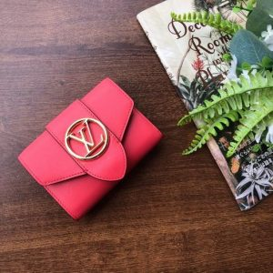 LV M69175 Louis Vuitton LV Pont 9 Compact Wallet Cowhide Leather Red - luxibagsmall