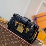 LV N93144 Louis Vuitton Petite Malle crocodilien brillant Bag N93145 Black - luxibagsmall