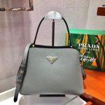 Prada 1BA282 Medium Saffiano Leather Prada Matinee Bag Gray - luxibagsmall