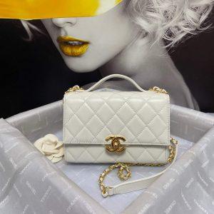 voguebags.ru chanel as2796 mini flap bag with handle lambskin white img 5575